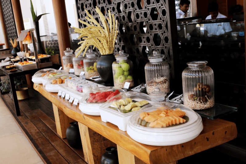 World Travel Adventurers, WorldTravelAdventurers, Park Hyatt Maldives, Hadahaa, Complimentary Breakfast, foodie, food, gourmet, Luxury Travel, Luxury resort, dream vacation, ocean view, buffet, fruit, tropical